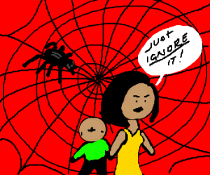 Mother and son walk past giant spiderweb