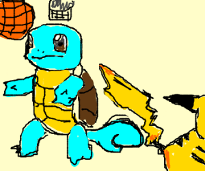 Playing basketball with pikachu and squirtle