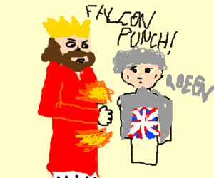 King hits the stomach to the queen of England
