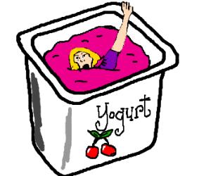 Drowning in yogurt!