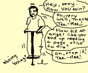 A man on a pogo stick talking to himself