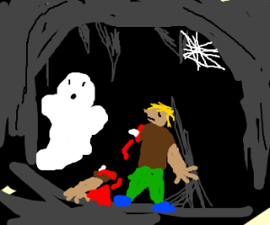 Man with an arm off walks in a cave with ghoul