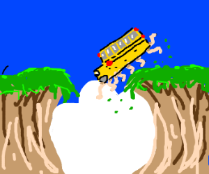 Bus with legs careems into a chasm