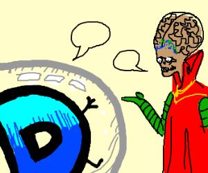 Drawception in barrier talking to aliens.