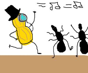 Gentleman Peanut and ants dancing