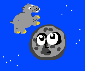 A hippo jumps over the moon!