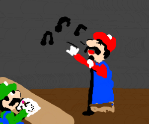 Mario on singing audition with Luigi as judge