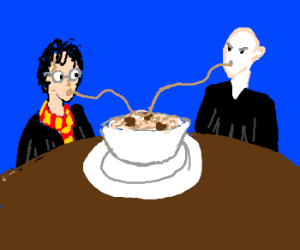 Harry Potter + Voldemort have Lady+Tramp meal