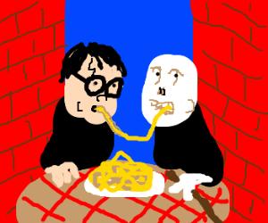 Harry and Voldemort share spaghetti