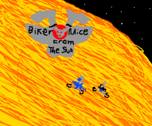 Harley mice duo ride lava surface of the Sun