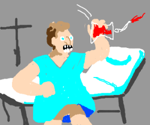 man throws blood bag