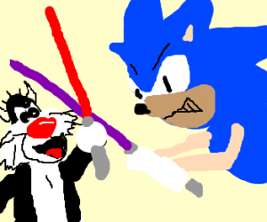 Sylvester and Sonic fight w/ lightsabers