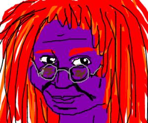 Whoopi Goldberg's skin is purple; hair is red.