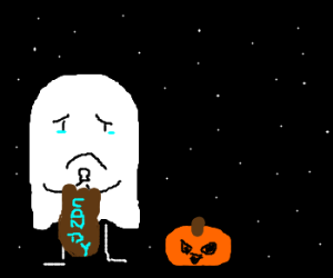 Ghost kid gets no candy on Halloween.