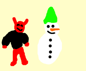 The Devil makes a snowman