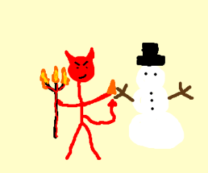 devil made a snowman-friend
