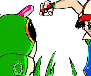 Pokemon trainer catching a wild Pokeball