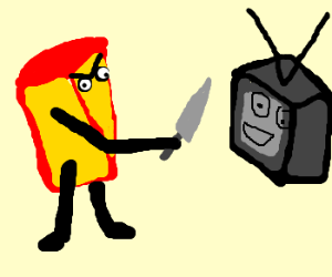 Mad Cheese Wedge threatens old TV with Knife!
