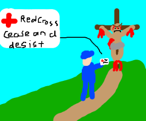 Red cross claims cross copyright over Jesus.