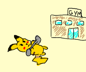 Pikachu Training For The Gym