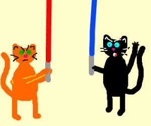 cartoon cats are Jedi