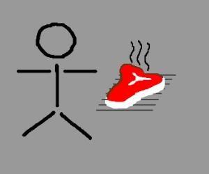 stick figure with a steak