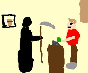 Grim Reaper, fast food cashier