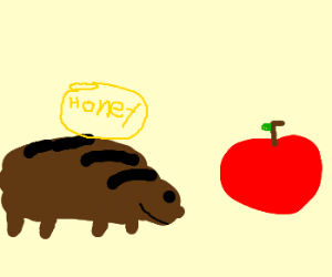 honeybadger with an apple