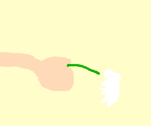 Hand Feeding Grass to a White Mouse