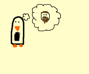 Penguin thinking about bearded man