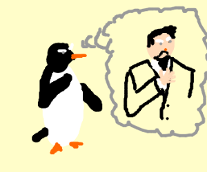 penguin ponders becoming human & growing beard
