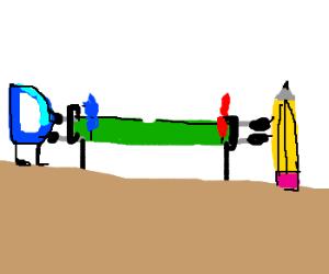 Pencil and Drawception D play fooze-ball.