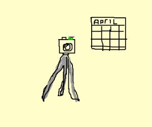 Tiny Donatello on top of April's tripod camera