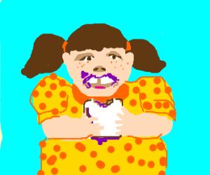 Chubby girl eats peanut butter