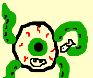 giant eye monster with tentacles eats fish