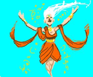 orange-toga'd beauty says arcane words