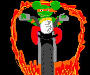 Mikey mouse drives motorcycle through fire