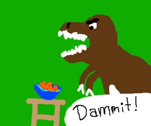 T-rex loves Nachos, but his tiny arms!