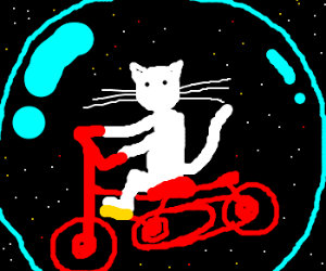 cat riding a bicycle in outer space