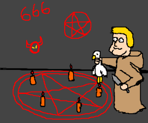 Blond guy performs satanic ritual