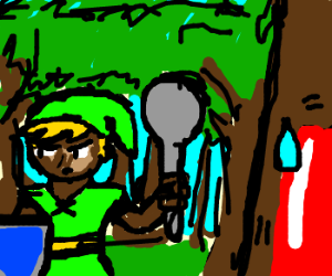 Dark-skinned Link hunts Jello w/ giant spoon?