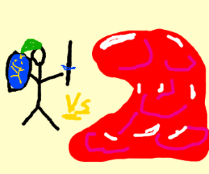 Link (LoZ) versus a red blob of blood