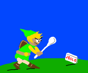Jello Pudding vs. Link armed with Spoon.