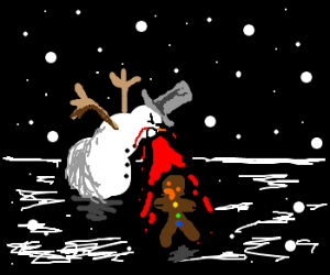 Snowman barfs blood on gingerbread man