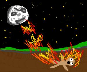 moon lights guy on fire