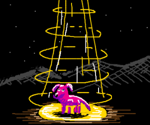 A pink dog gest abducted by aliens