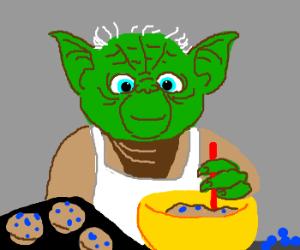 Yoda making muffins