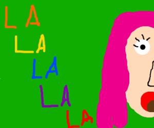 pink haired gal singin