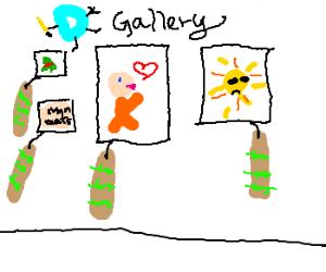 "Drawception Art Gallery, overpriced ""art"""