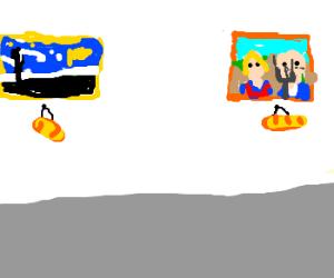 Art gallery with bread hanging below paintings